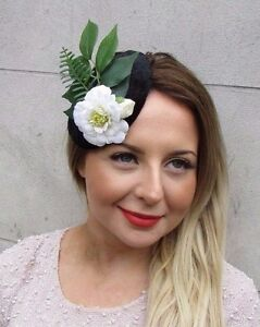 Black Green White Velvet Rose Flower Leaf Fascinator Headpiece Hair Clip 2727