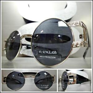 e5dd0ace9ce Men CLASSIC RETRO HIP HOP Style SUN GLASSES Round Silver   Black Frame Dark  Lens