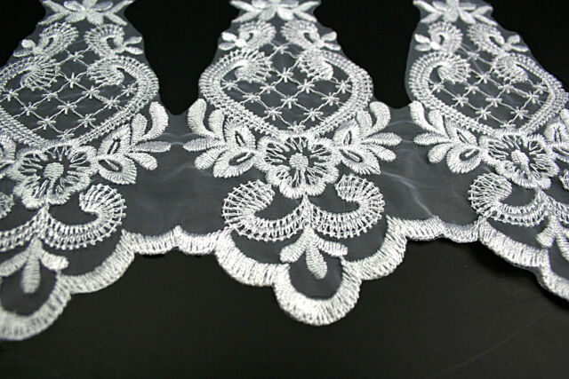 "Unotrim 6/"" White Sheer Organza Bridal Beaded Sequins Embroidery Lace by Yard"