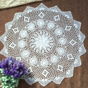 White-Vintage-Hand-Crochet-Lace-Doily-Small-Table-Cloth-Mat-Round-70-75cm