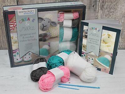 Whitecroft Beginner Knitting Kit Accessories YarnKnitting Needles /& Instructions