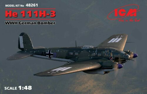 WWII German Bomber 1//48 plastic model kit 345 mm ICM 48261 He 111H-3
