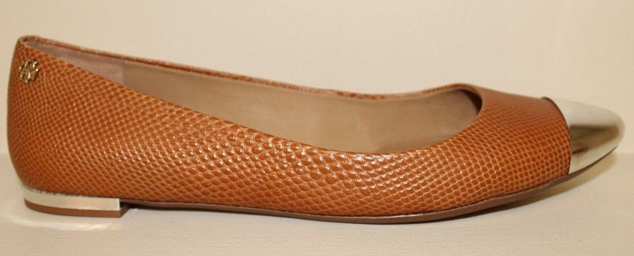 Ann Taylor Damenschuhe 6.5 Flats Schuhes Sz 6.5 Damenschuhe M Lizard Print Camel Silver Cap Toe & Heel 61679c