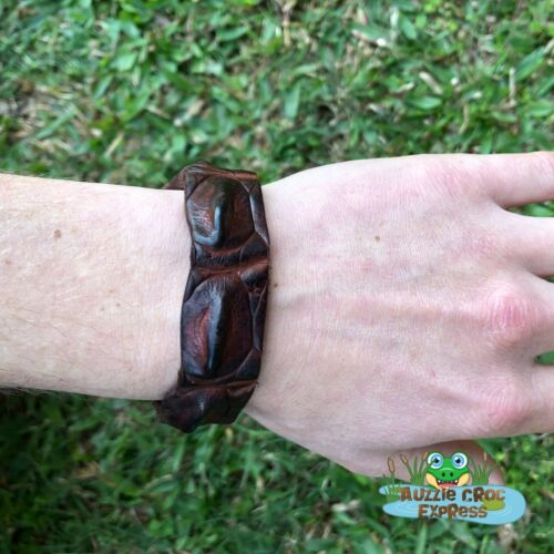 Authentic Australian Saltwater Crocodile Leather Wrist band//Bracelet Brown