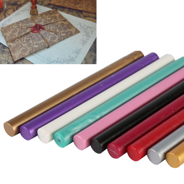 5x Colorful Seal Stamp Glue Wax Sticks For Sealing Vintage Birth Wedding Card JJ