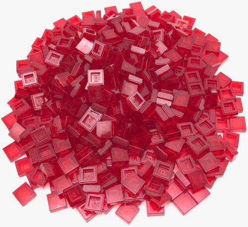 Lego 500 New Trans-Red Tiles 1 x 1 with Groove Flat Smooth Transparent Parts