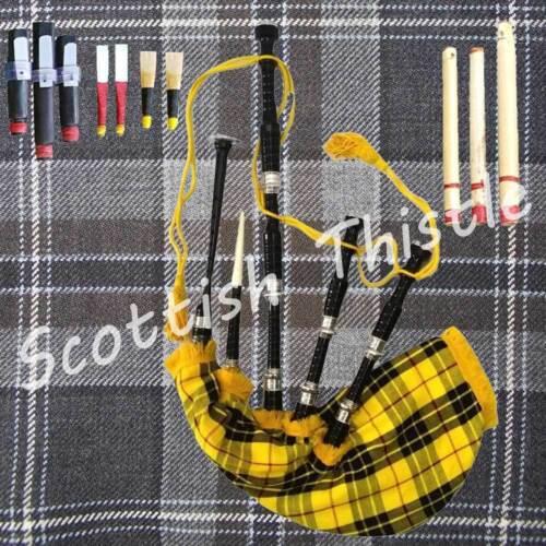 Scottish Great Highland Bagpipe Black Silver Amount Tutor Book Chanter Dudelsack