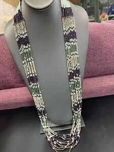 Vintage-Multi-Strand-Miss-Eggplant-White-Seed-Bead-Bohemian-Long-Necklace-38