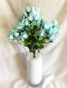 Details about 70 Mini Roses Buds Light Blue Silk Wedding Flowers  Centerpieces Bridal Bouquet