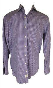 Peter-Millar-Mens-Purple-Plaid-Long-Sleeve-Cotton-Shirt-L