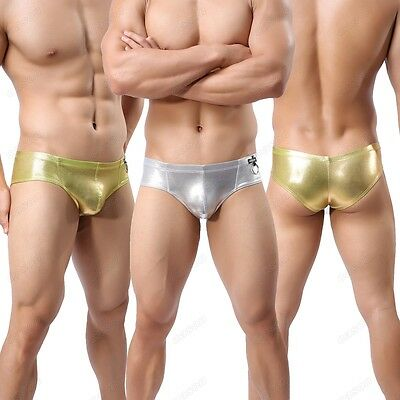 Brand Men's Hoop Shiny Underwear Leather Look Boxer Brief Underpants M L XL NK17