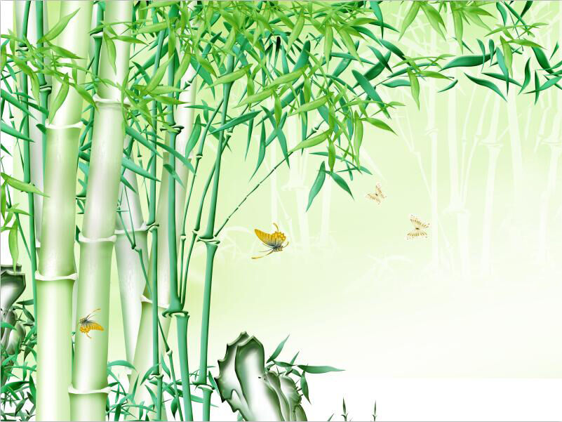 3D Grün bamboo forest nature Wall Paper Print Decal Wall Deco Indoor wall Mural