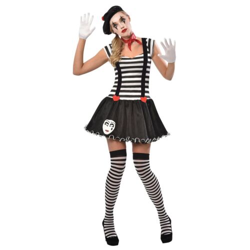 Miss Mime Artist Costume Adults French Street Circus Fancy Dress Ladies