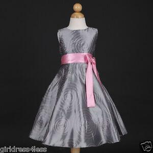 Silver-Christmas-Holiday-Party-Pageant-Taffeta-Wedding-Flower-Girl-Dress-4-6-8