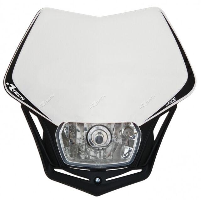 Máscara la Luz de Vivienda Faro Trasero Moto Racetech V-Face Blanco Motard
