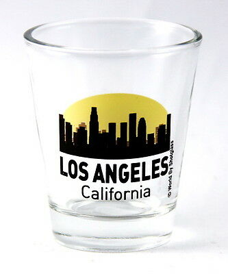 LOS ANGELES CALIFORNIA SUNSET SKYLINE NEW SHOT GLASS SHOTGLASS