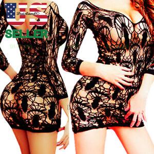 fb237001401 Image is loading Women-Lingerie-Sleepwear-Bodysuit-Lace -Bodystocking-Stocking-S-M-L-
