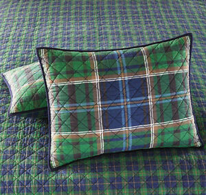 60-Martha-Stewart-Rhinebeck-Plaid-Green-Blue-Quilted-Standard-Pillow-Sham