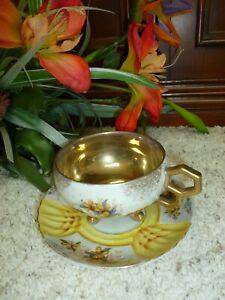 Vintage HR 3204 Tea Cup & Saucer Floral Design w Gold Trim Gold Lined Cup Japan