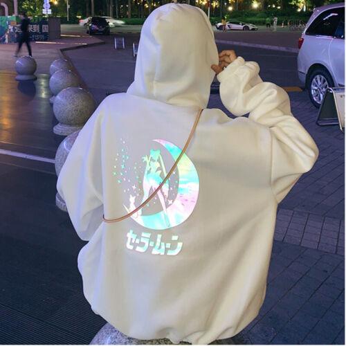 Kawaii Clothing Sailor Moon Hoodie Sweatshirt Laser Reflective Black White Anime