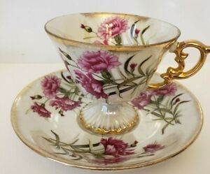 Vintage-ENESCO-Fine-Bone-China-Tea-Cup-and-Saucer-JANUARY-CARNATION-Gold-Trim