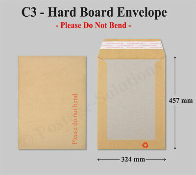 500 C3 A3 Hard Board Backed Envelopes NEXT Day 24hr Delivery 457mm x 324mm