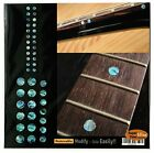 Inlay Sticker Fret Markers for Guitars & Bass - Custom Dots - Set Abalone Blue