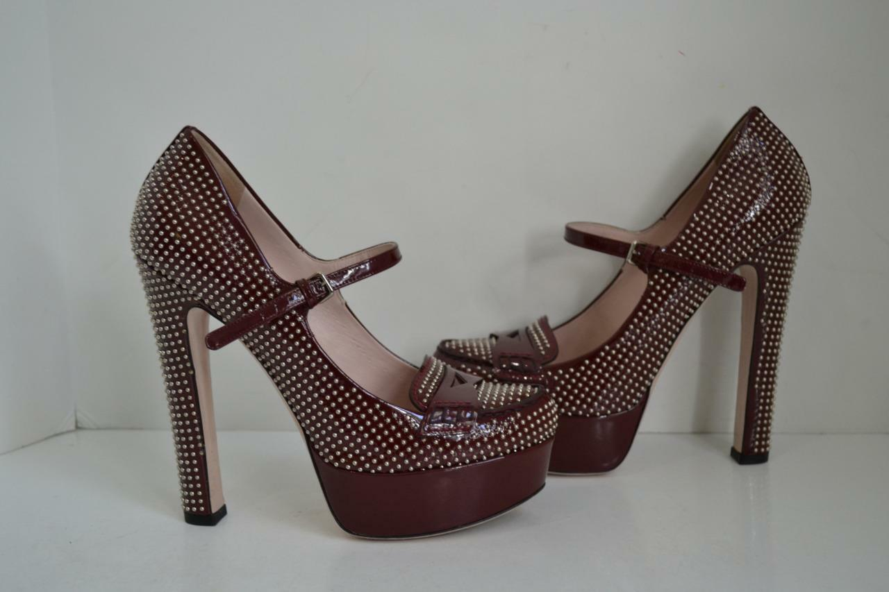 Miu Miu Burgundy Patent Leather Studded Platform Round Toe Pumps shoes Size 37
