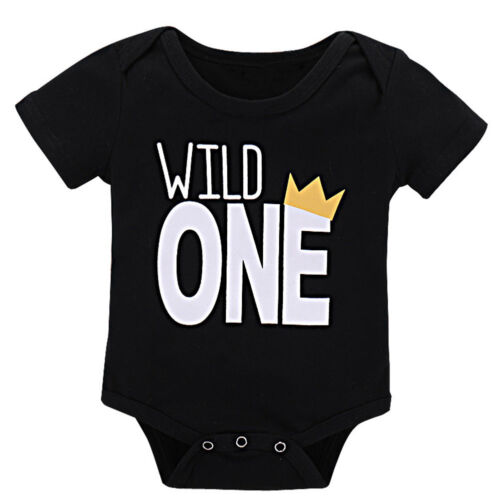 Infant Baby Boy Girl Wild Crown One Piece Romper 1st Birthday Cake Smash Outfit