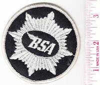 Bsa Motorcycle, Round 3.5 Silver On Black, Embroidered Patch, Usa Made. F/sh