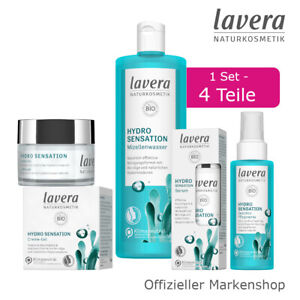 lavera Hydro Sensation Gesichtspflege Set 4tlg. Creme-Gel Serum Spray Mizellen