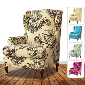 Wing-Chair-SlipCover-Wingback-Cover-Printed-Armchair-Stretch-Protector-2-Piece