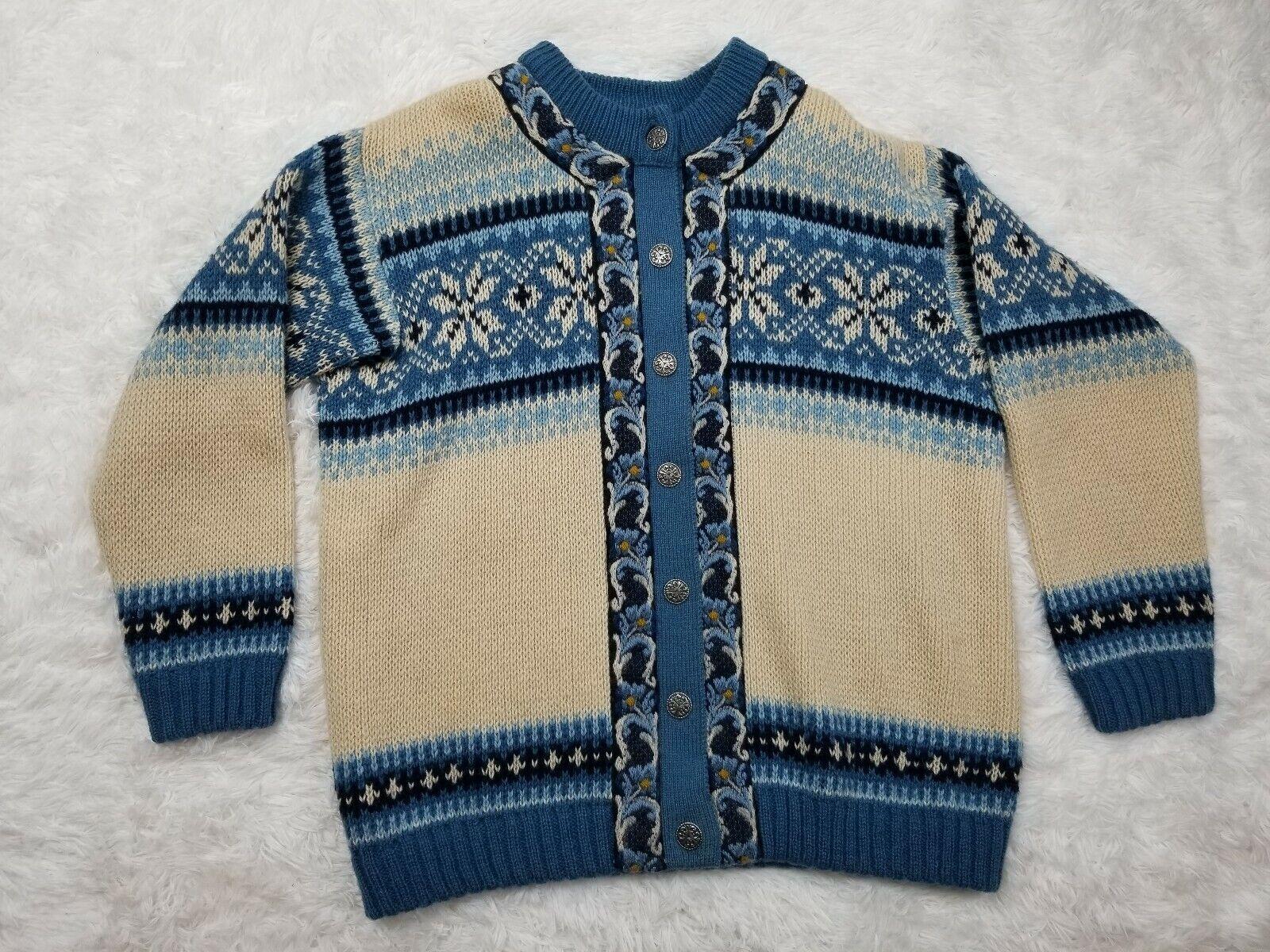 A S Evebofoss Sandane Of Norway Sweater/cardigan pure new wool Sz 44 fair isle