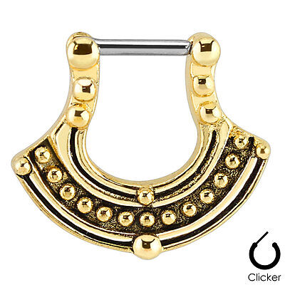 1pc Gold Plated Tribal Pattern Septum Clicker 316L Steel 16g Nose Ring