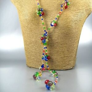 Long-Color-Transparent-Beads-Fashion-Necklace-Earrings-Women-Jewelry