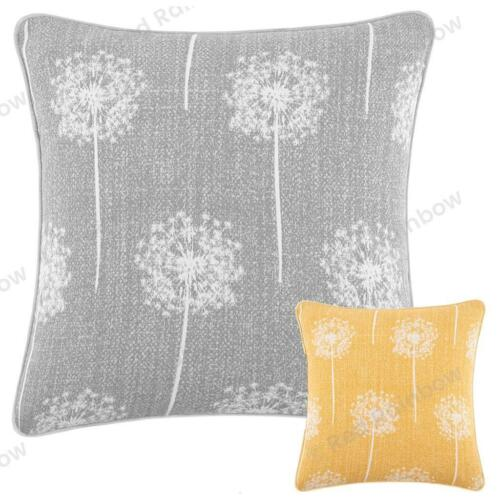 """Dandelion Clocks 17/"""" Cushion Cover with Piped Edges in Yellow or Grey"""