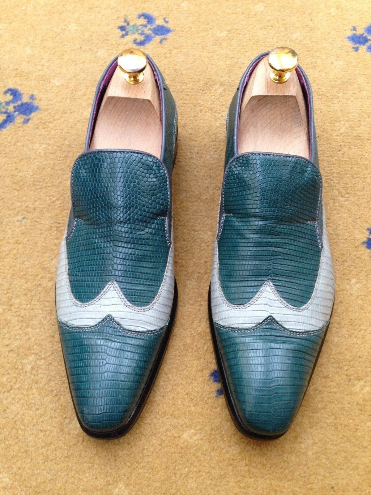 Oliver Sweeney Bespoke Mens Shoes Blue Leather Lizard Effect US 8.5 41.5