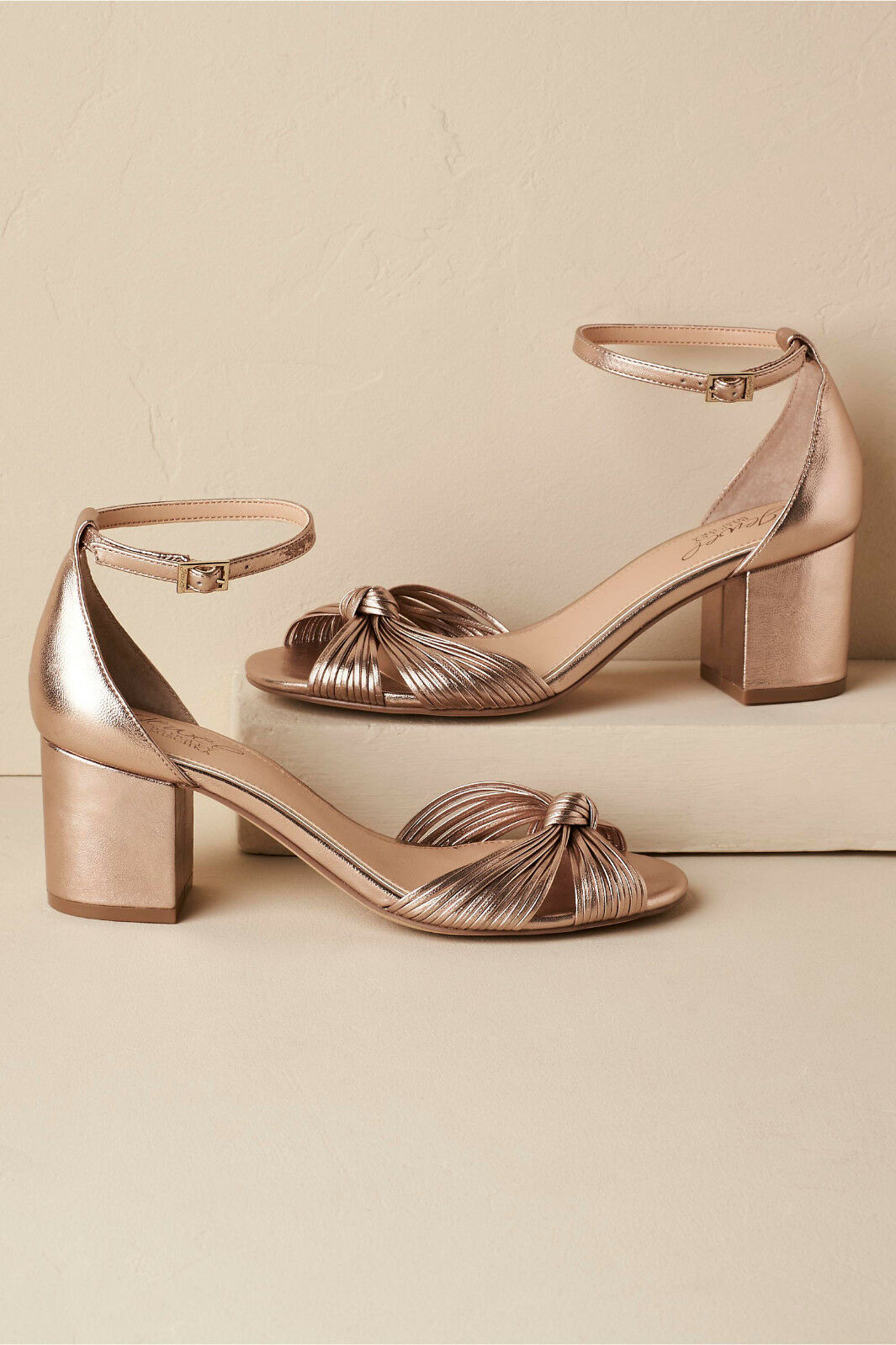 BADGLEY MISCHKA 7 pinkgold KNOTTED BLOCK HEEL ANKLE STRAP BHLDN SOLD OUT 109