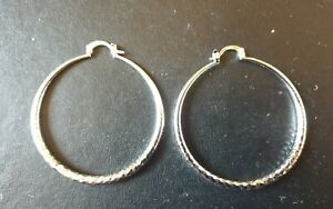 WHOLESALE 925 STERLING SILVER FINE 50MM ROUND HOOPED EARRINGS & FREE GIFTBOX.