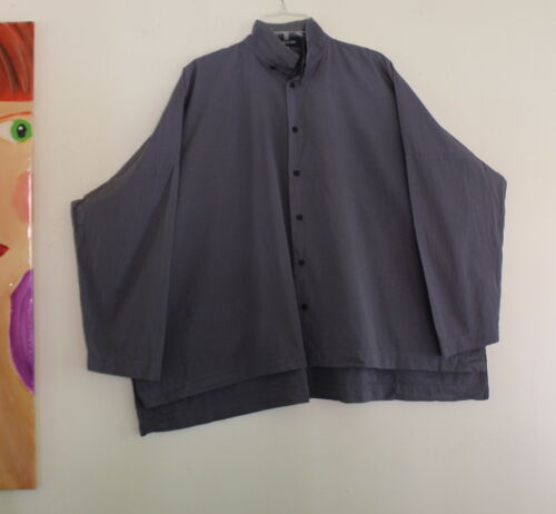 Eskandar 1 Gray POPLIN Polished Boxy Art 2-Collar