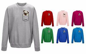 Dog-Pug-Pocket-Print-Puppy-Cute-Funny-Unisex-Sweater-Sweatshirt-Jumper-NEW