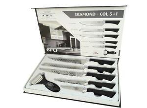 Set 5 coltelli pelapatate da cucina in acciaio manico antiscivolo DIAMOND