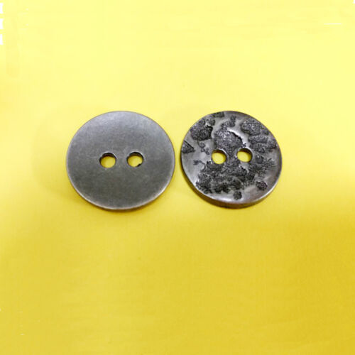 10 Brass Metal Plate Suit Sleeve Sew On Buttons Grey Dark Pewter 15mm 24L G255