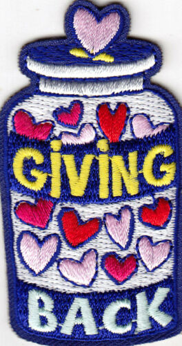 """/""""GIVING BACK/"""" DONATION CARING CHARITABLE IRON ON EMBROIDERED PATCH"""