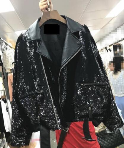 Casual H143 Faux Lapel Motorcykeljakke Black Sz Leather Outwear Sequins Kvinders avwA1qv