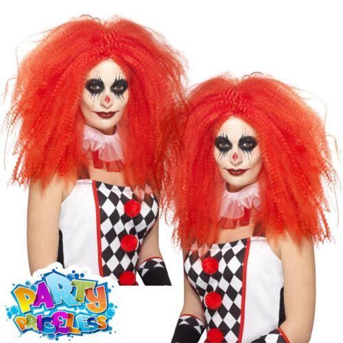 Adult Red Clown Wig Harlequin Honey Jester Ladies Halloween Fancy Dress Costume
