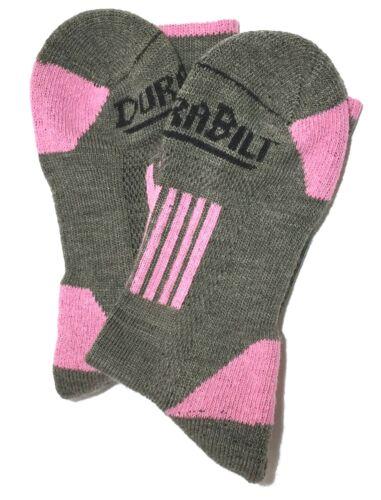 9-11 DURABILT 2-PAIR MERINO WOOL SOCKS BASIL//PINK SIZE MD FIT 5-10 SHOE