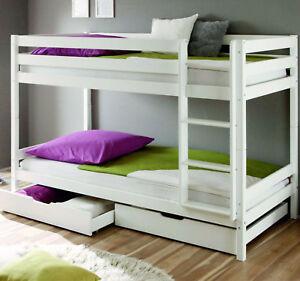 Details zu Etagenbett Weiss Hochbett Schublade Massiv Stockbett 90 x 200 cm  Bett Kinderbett