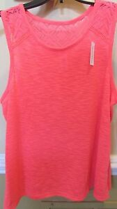 NWT girls Total girl 20.5 Bright orange sleeveless lace rayon top blouse