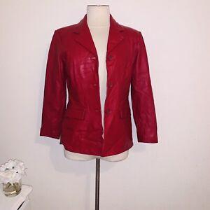 Vintage-red-lamb-skin-leather-blazer-jacket-petite-s-Preston-amp-York